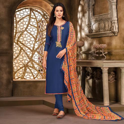 Desirable Blue Colored Partywear Embroidered Chanderi Dress Material