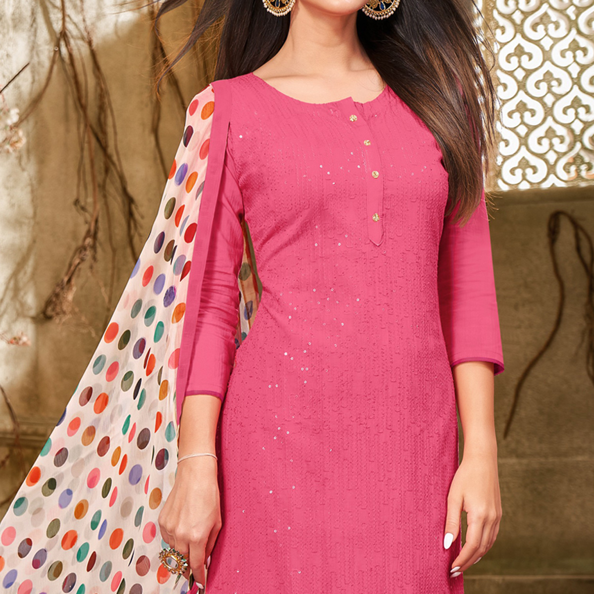 Exotic Pink Colored Partywear Embroidered Chanderi Dress Material
