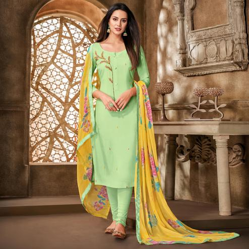 Sophisticated Pista Green Colored Partywear Embroidered Chanderi Dress Material