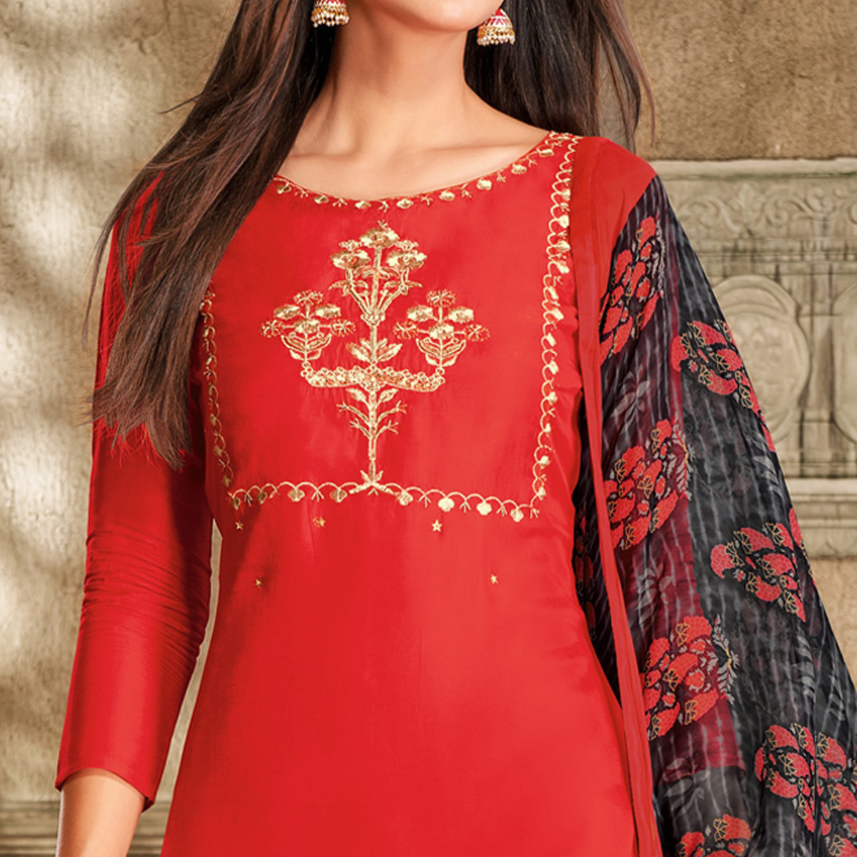Trendy Red Colored Partywear Embroidered Chanderi Dress Material