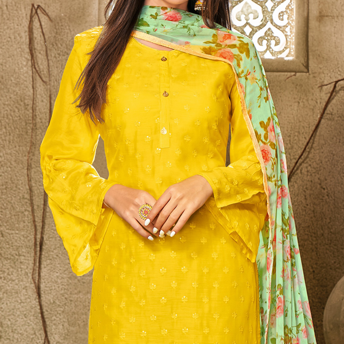 Elegant Lemon Yellow Colored Partywear Embroidered Chanderi Dress Material