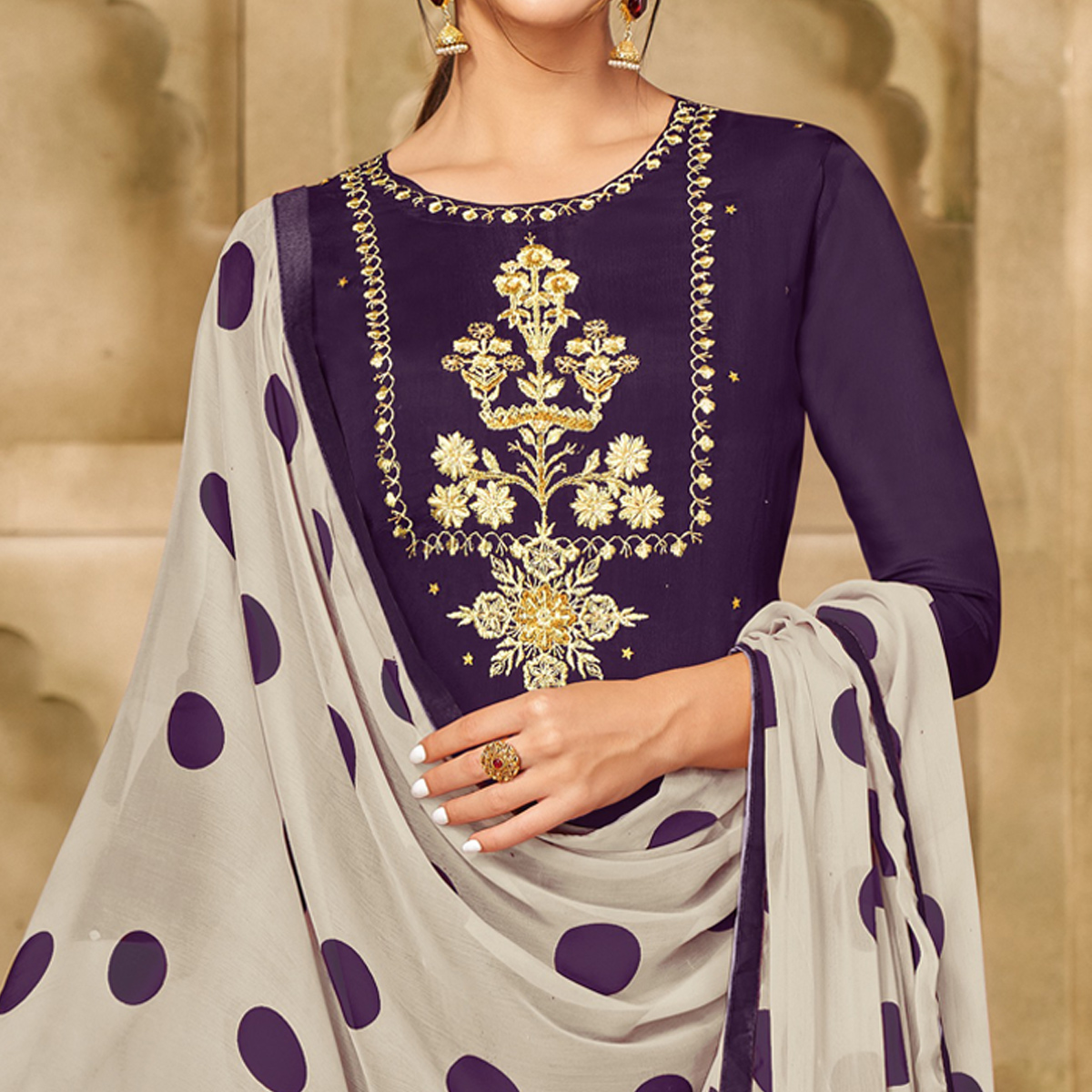 Radiant Dark Purple Colored Partywear Embroidered Chanderi Dress Material
