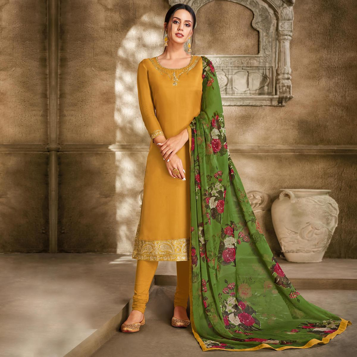 Pleasant Mustard Yellow Colored Partywear Embroidered Chanderi Dress Material