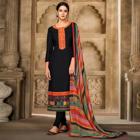 Opulent Black Colored Partywear Embroidered Chanderi Dress Material