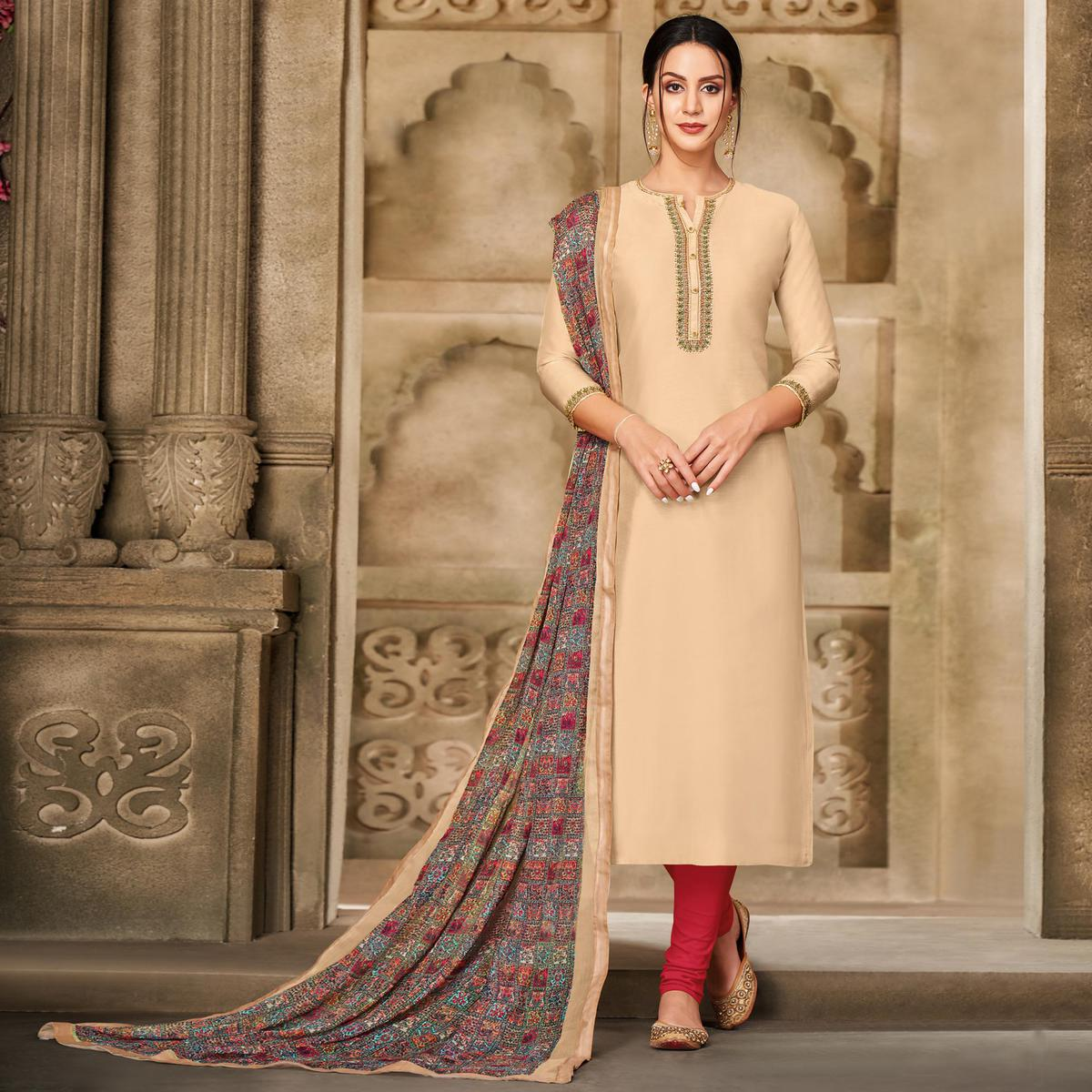 Energetic Beige Colored Partywear Embroidered Chanderi Dress Material