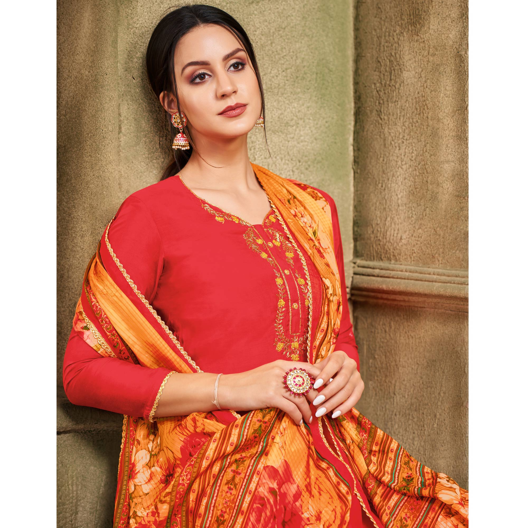 Glowing Coral Red Colored Partywear Embroidered Chanderi Dress Material