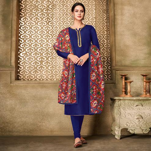 Unique Dark Blue Colored Partywear Embroidered Chanderi Dress Material