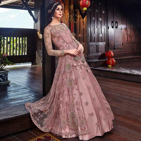 Adorable Pastel Pink Colored Partywear Embroidered Net Palazzo Suit
