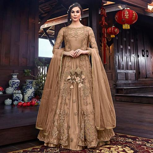 Glorious Rosy Brown Colored Partywear Embroidered Net Palazzo Suit