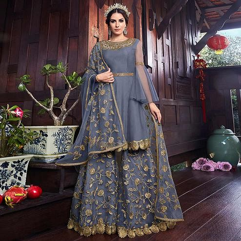 Beautiful Grey Colored Partywear Embroidered Net Palazzo Suit