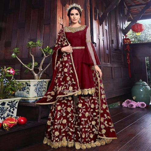 Graceful Maroon Colored Partywear Embroidered Net Palazzo Suit