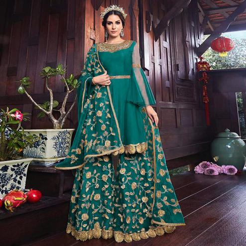 Blooming Rama Green Colored Partywear Embroidered Net Palazzo Suit