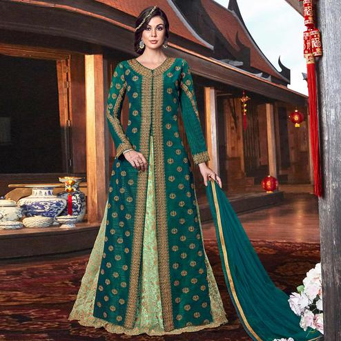 Jazzy Dark Green Colored Partywear Embroidered Net Palazzo Suit