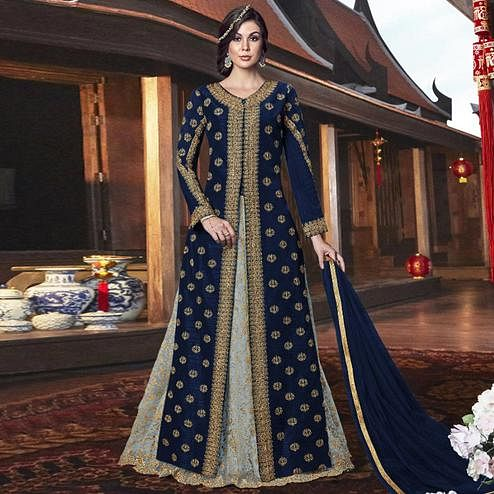 Delightful Navy Blue Colored Partywear Embroidered Net Palazzo Suit