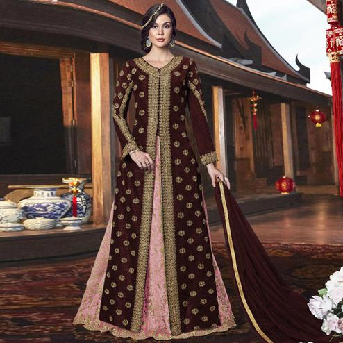 Engrossing Maroon Colored Partywear Embroidered Net Palazzo Suit
