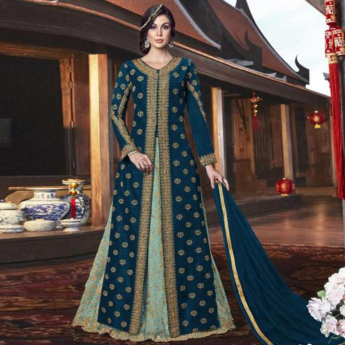 Captivating Rama Colored Partywear Embroidered Net Palazzo Suit