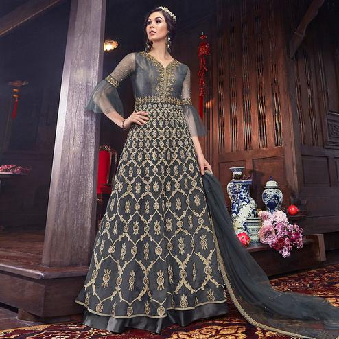 Innovative Grey Colored Partywear Embroidered Net Palazzo Suit