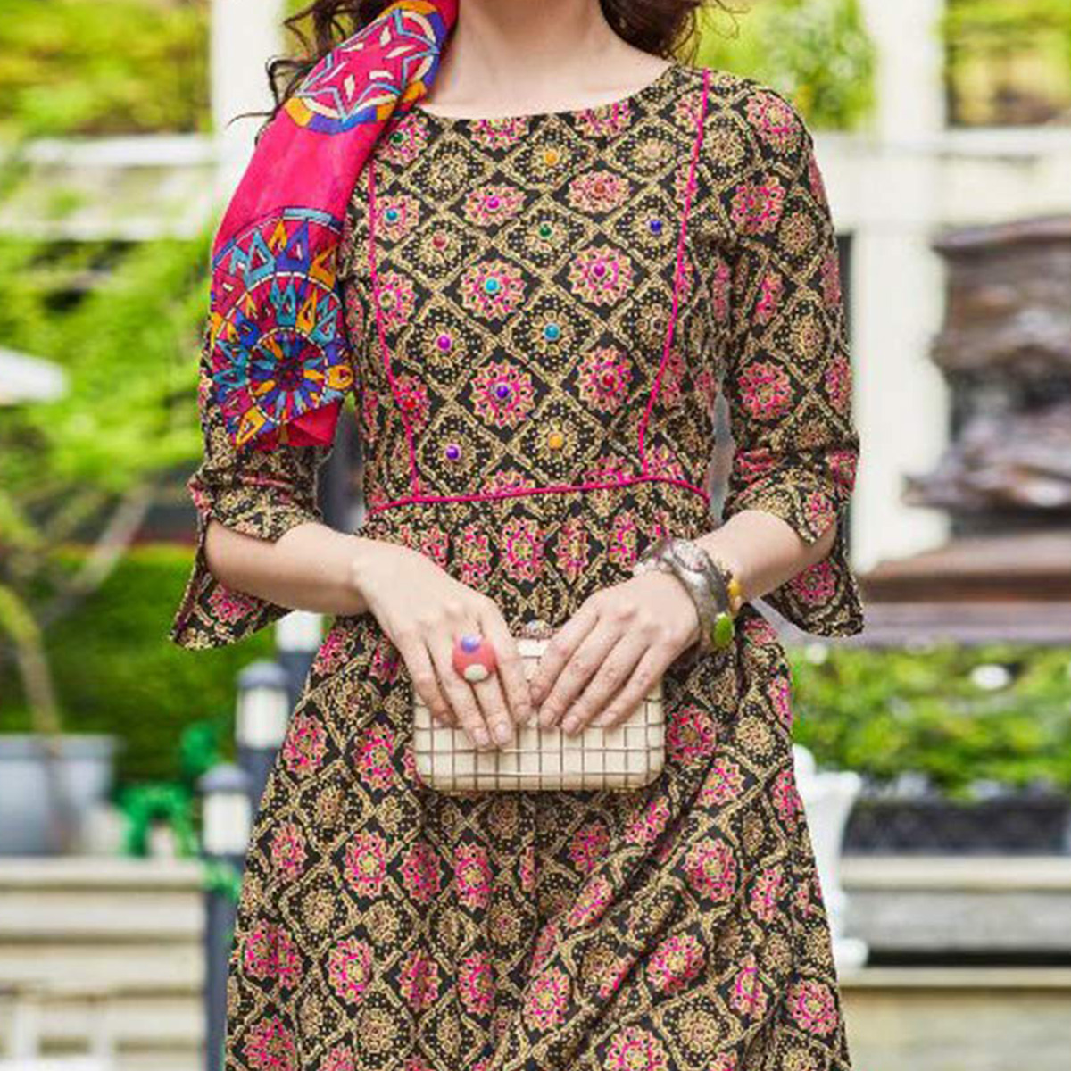 Attractive Multi Colored Designer Partywear Printed Cotton Kurti