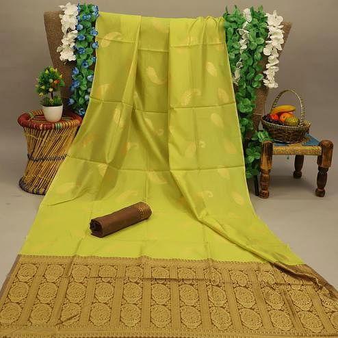 Gorgeous Pista Green Colored Festive Wear Woven Soft Silk Saree