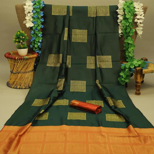Blissful Dark Green Colored Festive Wear Woven Soft Silk Saree