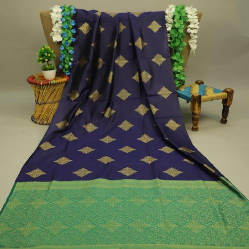 Breathtaking Navy Blue Colored Festive Wear Woven Soft Silk Saree