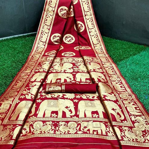 Radiant Royal Red Colored Festive Wear Woven Silk Saree