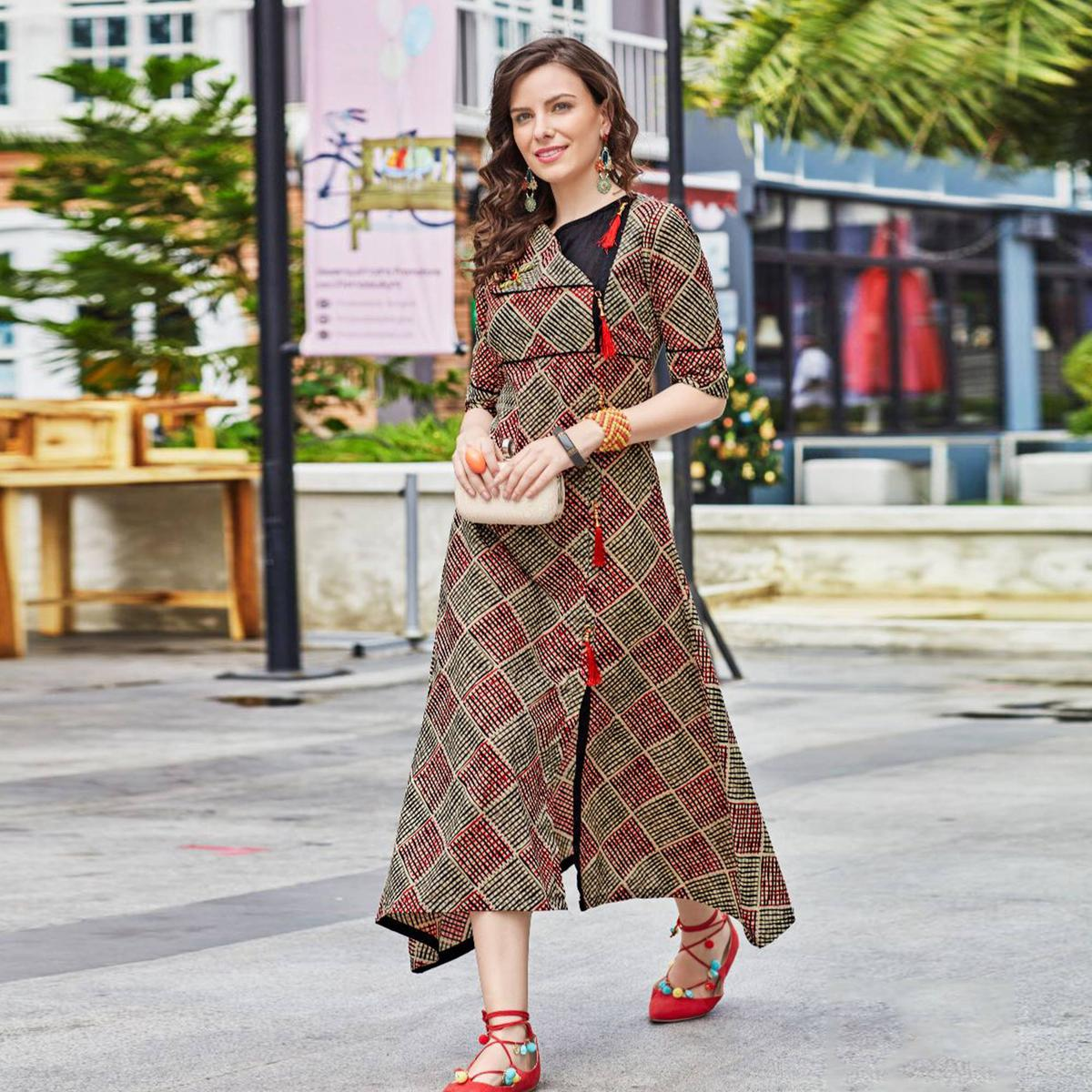 8a81c47e44 Buy Elegant Multi Colored Designer Partywear Printed Cotton Kurti for womens  online India, Best Prices, Reviews - Peachmode