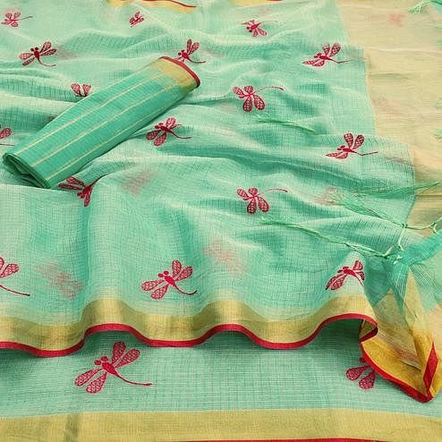 Arresting Turquoise Green Colored Festive Wear Woven Kota Silk Saree