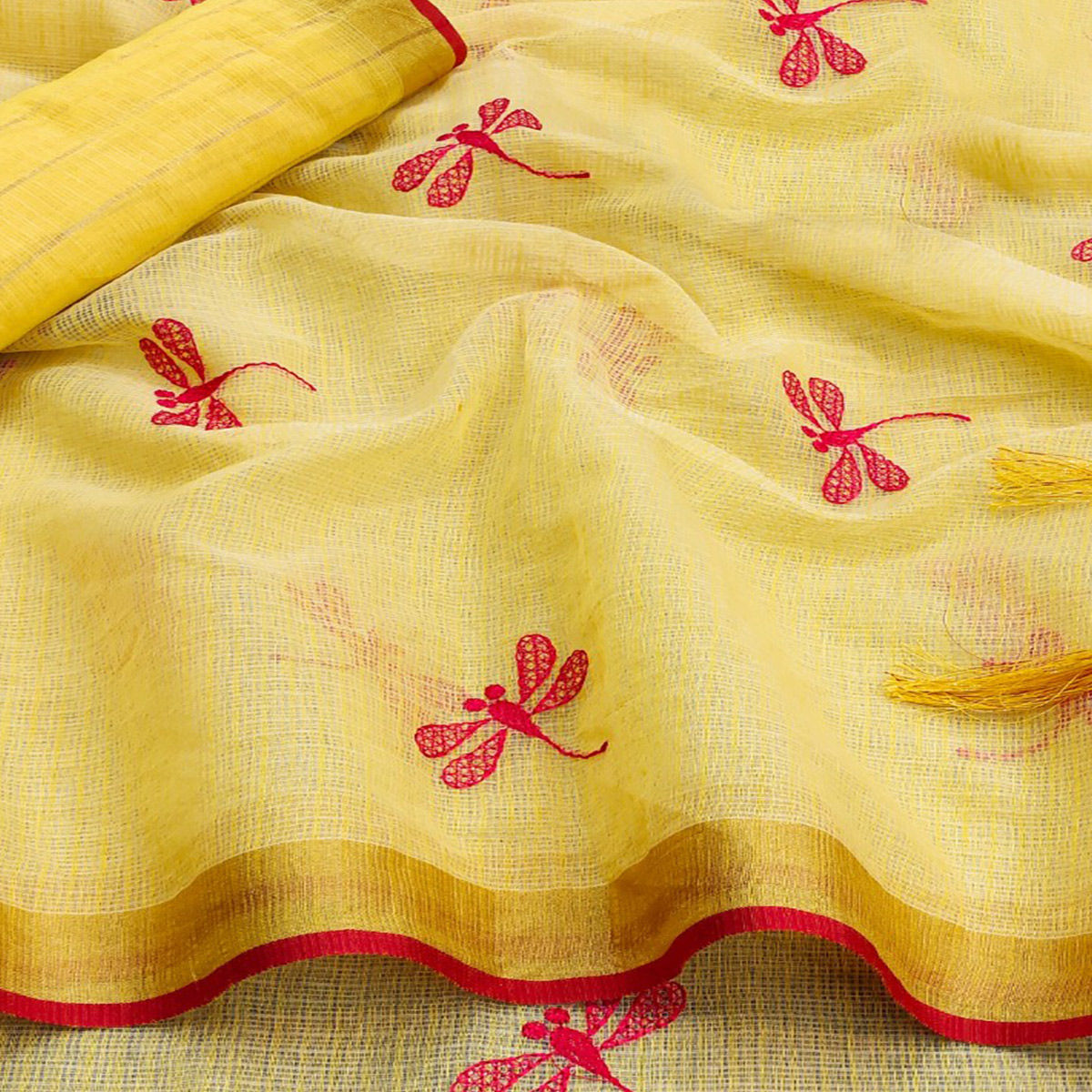 Exotic Light Yellow Colored Festive Wear Woven Kota Silk Saree