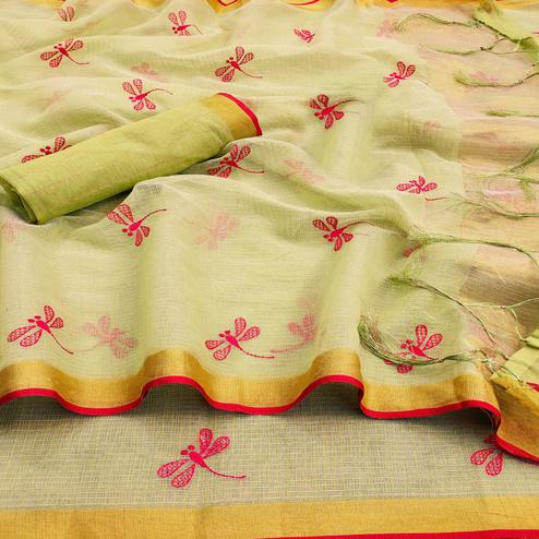 Sophisticated Pastel Green Colored Festive Wear Woven Kota Silk Saree
