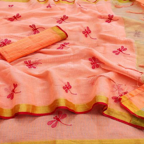 Trendy Peach Colored Festive Wear Woven Kota Silk Saree