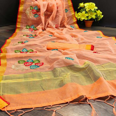 Radiant Peach Colored Festive Wear Embroidered Kota Doria Saree