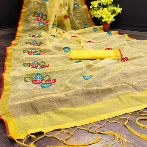 Opulent Yellow Colored Festive Wear Embroidered Kota Doria Saree