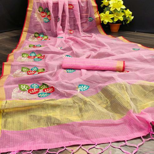 Energetic Light Pink Colored Festive Wear Embroidered Kota Doria Saree