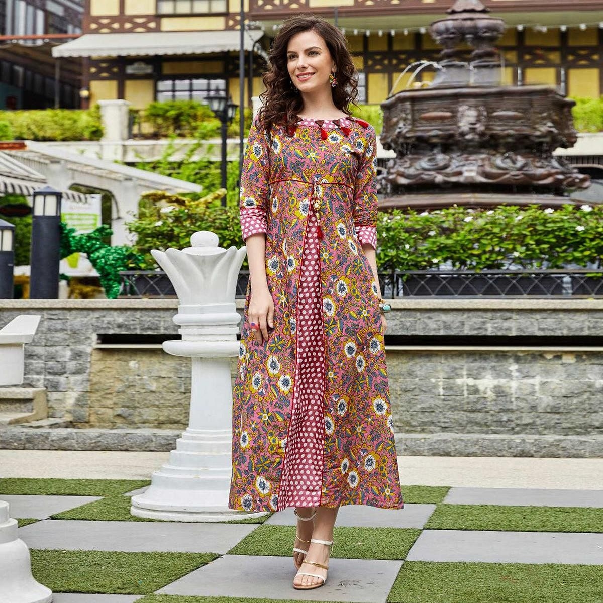 Dazzling Multi Colored Designer Partywear Printed Cotton Kurti