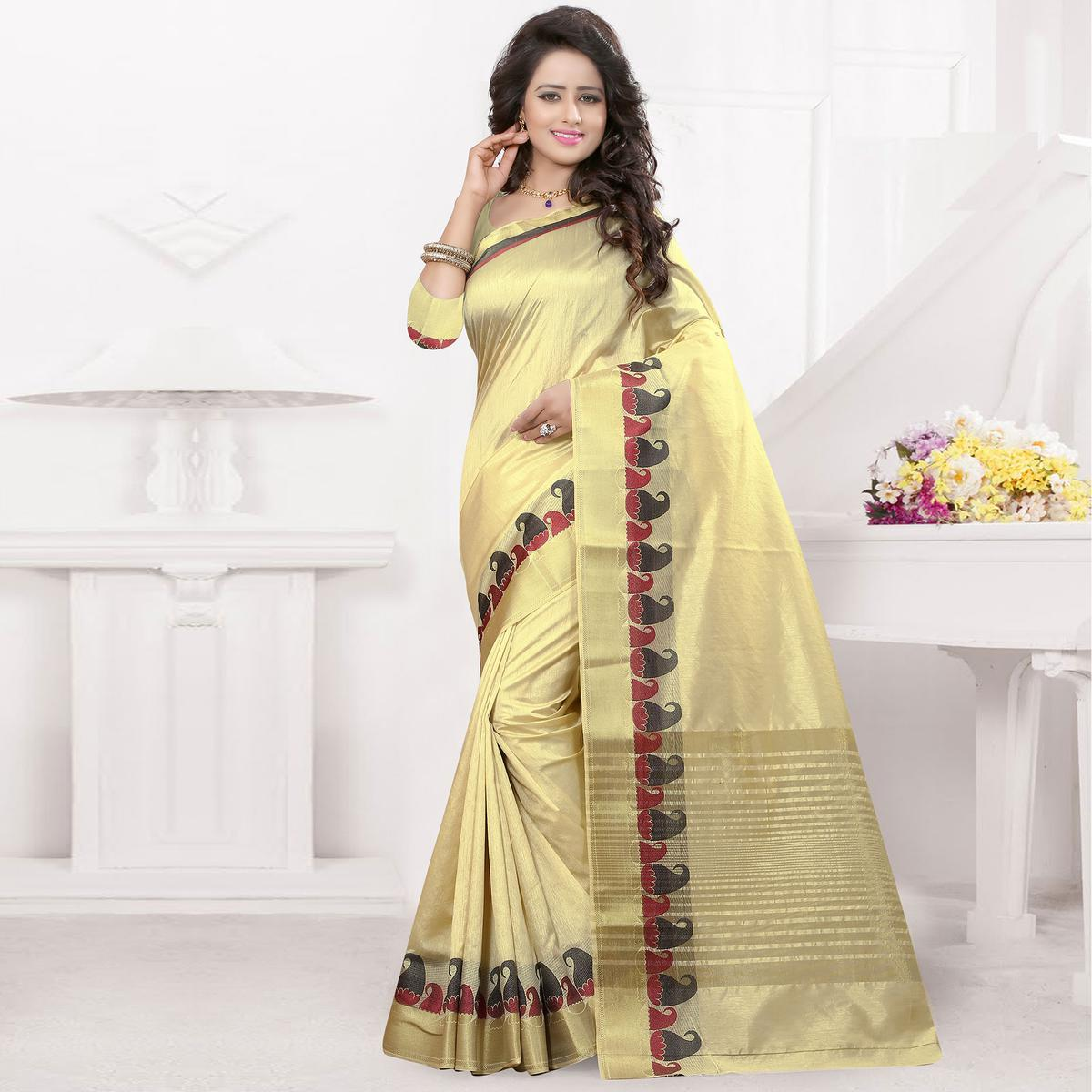Golden Big Border Work Saree
