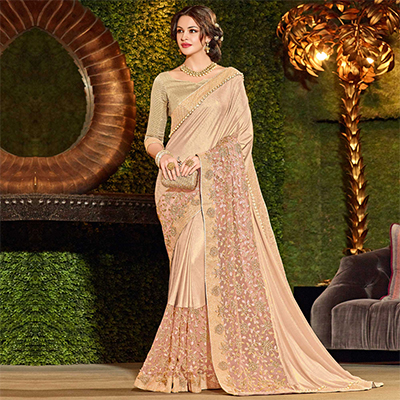Marvellous Beige Colored Designer Embroidered Jacquard Saree