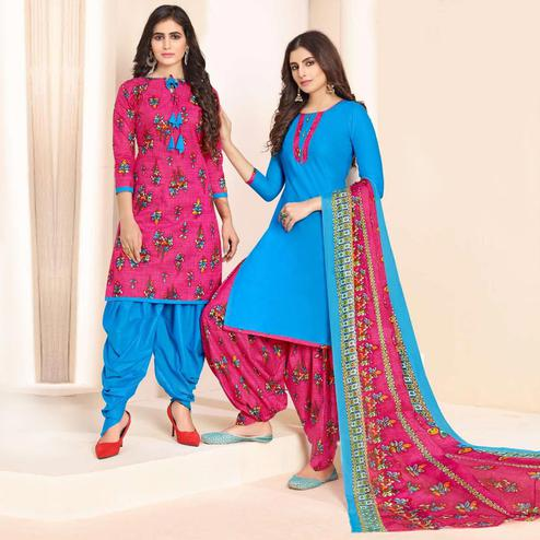 Amazing Pink - Blue Colored Colored Casual Wear Printed Cotton Patiala Dress Material