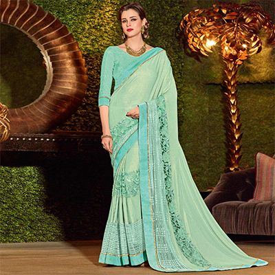 Charming Cyan Colored Designer Embroidered Jacquard Saree