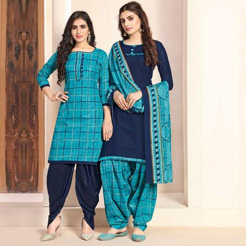 Blissful Blue - Navy Blue Colored Colored Casual Wear Printed Cotton Patiala Dress Material