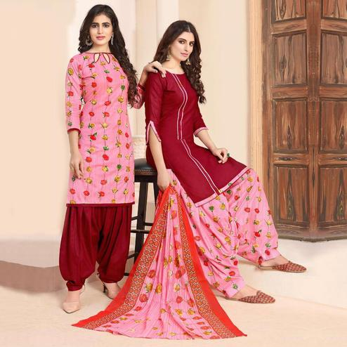 Ideal Pink - Maroon Colored Colored Casual Wear Printed Cotton Patiala Dress Material