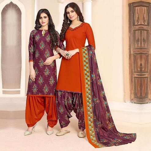 Lovely Purple - Orange Colored Colored Casual Wear Printed Cotton Patiala Dress Material