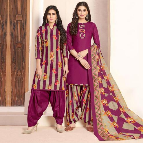 Majesty Beige - Purple Colored Colored Casual Wear Printed Cotton Patiala Dress Material