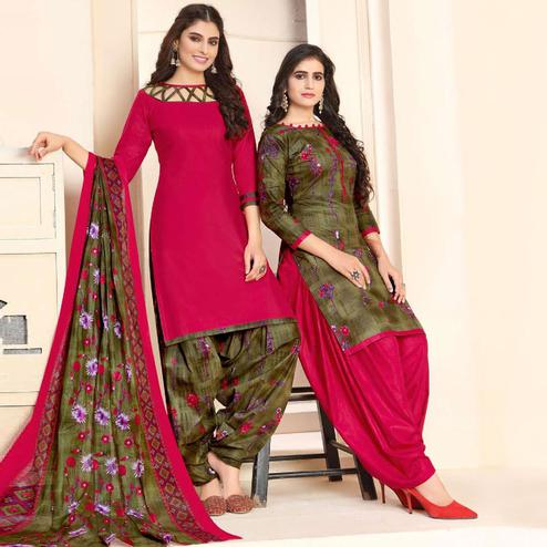 Mesmerising Pink - Olive Green Colored Colored Casual Wear Printed Cotton Patiala Dress Material
