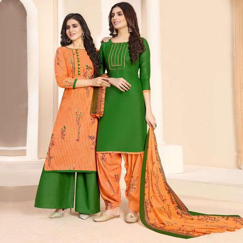Pleasance Light Orange - Green Colored Colored Casual Wear Printed Cotton Patiala Dress Material