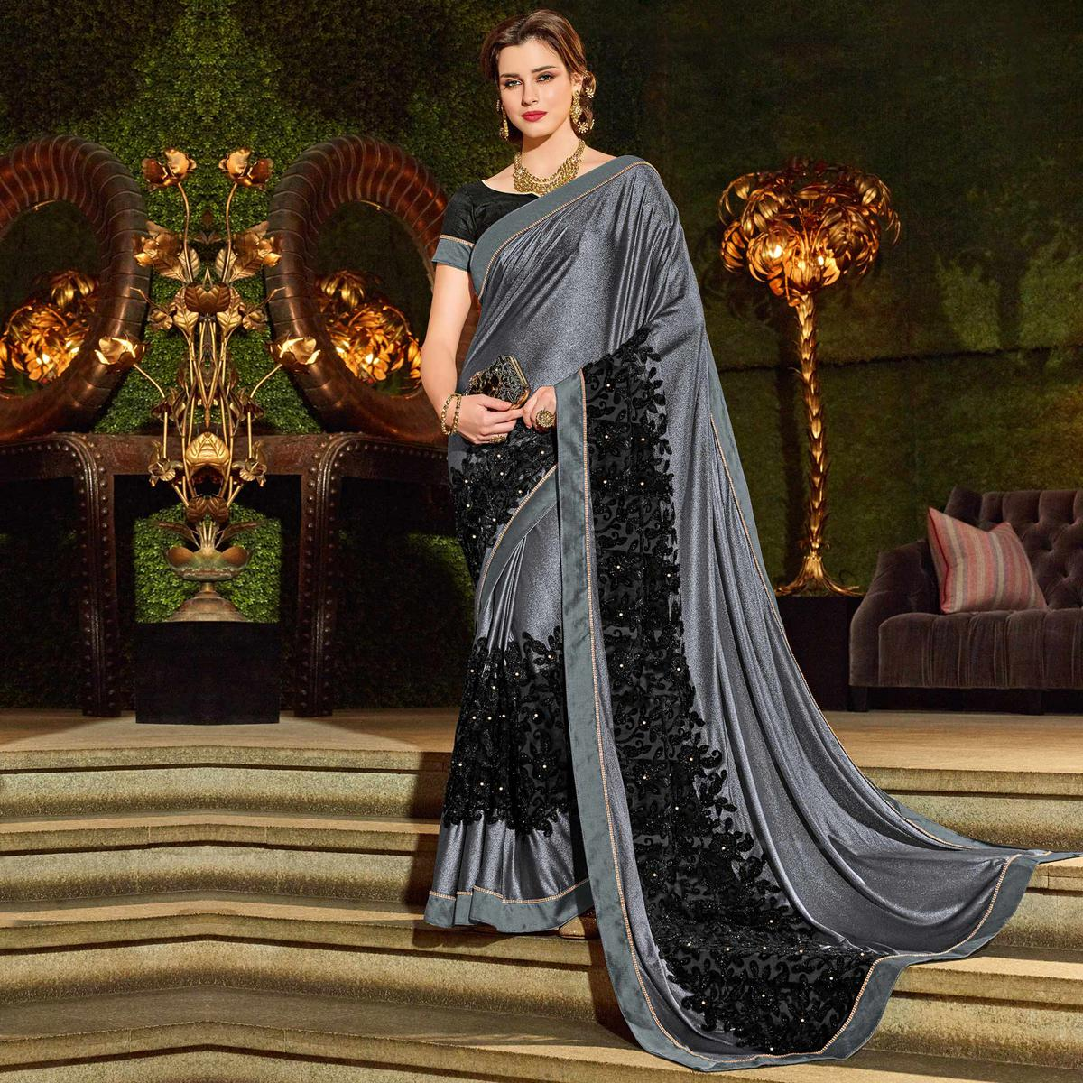 Stunning Gray-Black Colored Designer Embroidered Jacquard Saree