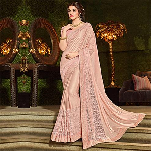 Lovely Pink Colored Designer Embroidered Jacquard Saree