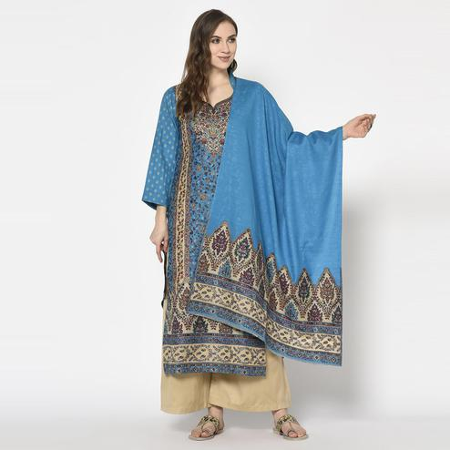 Safaa - Blue Colored Party Wear Printed Acro Wool Dress Material