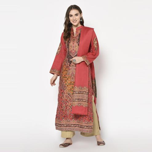 Safaa - Orange Colored Party Wear Printed Acro Wool Dress Material