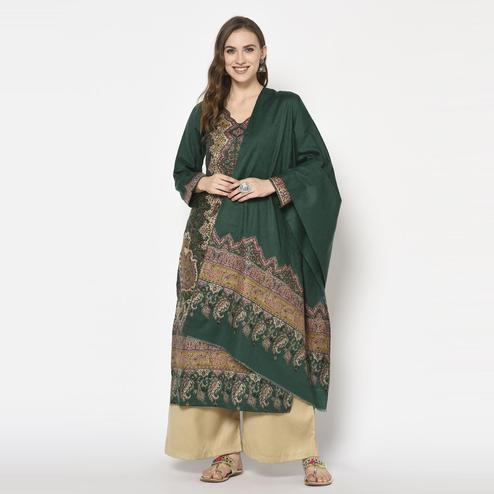 Safaa - Green Colored Party Wear Printed Acro Wool Dress Material